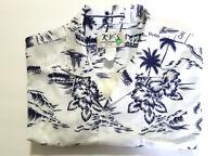 Ky's  Mens XL Hawaiian Shirt, White with Blue, Made in Hawaii