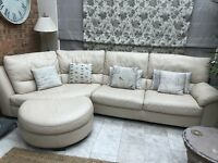 leather corner sofa Cream/Ivory Natuzzi With Foot Stool