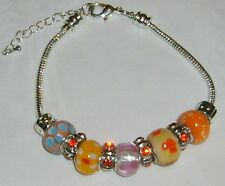 New Handmade Red Glass Yellow Orange Beaded Silver-Plated Smiley 8 in Bracelet