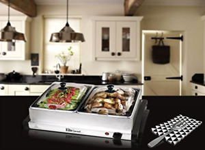 Elite Gourmet MaxiMatic Double Buffet Warmer Server Stainless Steel Tray, New