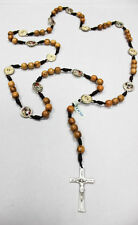 """The Stations of the Cross Rosary made of Olive Wood 23"""" Inches + Gift Holy Card"""
