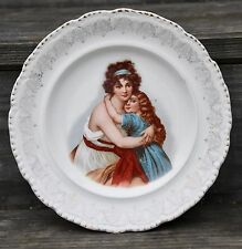 "John Maddock & Son Portrait Plate Porcelain Victorian Mother Daughter 9""W"