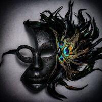 Half Moon Side Feather Venetian Masquerade Costume Women Eye Mask Glitter Black