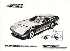 Matchbox News Juni 1970 Superfast 52A Dodge Charger mit s & w Foto