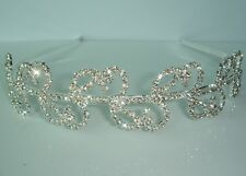 White Bridal Prom Crystal Leaf Pattern Headband Tiara