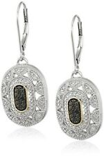 Fashion Silver and 14k Yellow Gold black Gemstone Art Deco Earring Jewelry