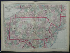 Asher & Adams Antique State Map 1872 Pennsylvania & New Jersey N1#47