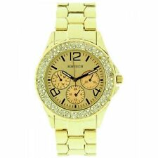 Gold Plated Band Women's Polished Round Wristwatches