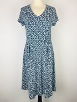 Seasalt Blue White Floral Tunic Pier View Dress Size 12 Stretch Organic Cotton