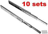 "Set of 10 Soft-Close Ball Bearing Drawer Slides Full Extension 12""-24"" 100lb"