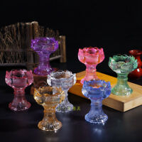 Crystal Lotus Flower High Tealight Candlestick Candle Holders Lucky Prayer Home