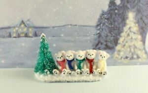 OOAK~Polar Bear~Christmas Scene~Mini~Baby Toy~Artist Doll~Dollhouse~Cheryl Brown