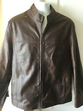 Vera Pelle of Italy Ladies Brown Distressed Leather Biker Jacket in Size XL