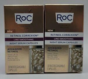 LOT OF (2) RoC RETINOL CORREXION Line Smoothing Night Serum - 30 Capsules