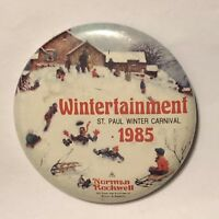 1985 Saint Paul Winter Carnival Norman Rockwell Pinback Button Pin 2-1/4""
