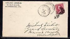 US #219D Blossburg PA Tioga Co. Bloss Masonic Lodge 1890 a824