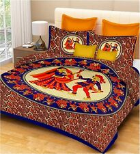 Indian Mandala 100% Cotton Jaipuri Double Size Bed Sheet With 2 Pillow Cover Set