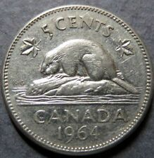 Vintage 1964 CANADA  5  CENTS COIN, Very Fine Circulated, Nice Coin