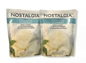 Nostalgia Vanilla Crème Ice Cream Mix 8.0oz Makes 2 Quarts New Lot Of 2