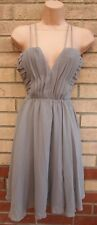 H&M RUCHED GREY SILKY FEEL STRAPPY SKATER FLIPPY FLARE WEDDING PARTY DRESS 10 12
