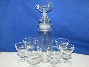 7 PC. PADEN CITY GLASS ROOSTER COCKTAIL SHAKER SET