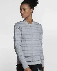 Nike Womens Aeroloft Full Zip Long Sleeve Down Running Jacket Grey New 856634