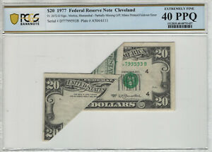 1977 $20 FEDERAL RESERVE NOTE HUGE FOLD OVER ERROR NOTE PCGS B EF XF 40 PPQ