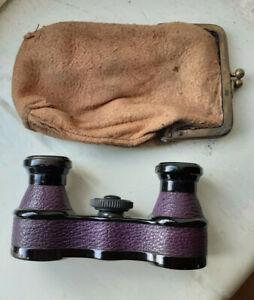 """Antique  """" Purple """"  C.P  GOERZ  Unipont OPERA GLASSES  Original bag / case"""