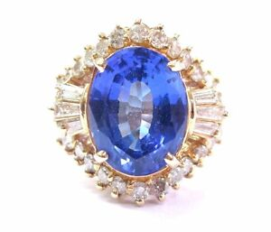NATURAL Oval Tanzanite & Diamond 14Kt Yellow Gold Solitaire W Accent Ring 6.38Ct