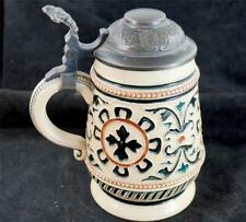 ANTIQUE GERMAN S.P GERZ POTTERY PEWTER STEIN MODEL 588 SCROLLWORK at