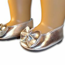 "Silver Shoes with Cute Bow Ballet Flats made for 18"" American Girl Doll Clothes"