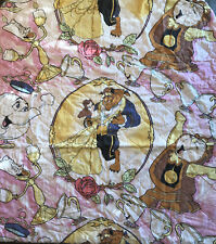Vintage Disney Beauty And Beast Twin Bedding Set Flat Fitted Blanket Sheets 90's