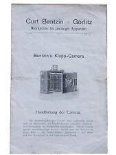 Curt Bentzin Bentzin`s Klapp-Camera   - Anleitung 4 Seiten, dabei