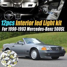 12Pc Car Interior LED White Light Bulb Kit for 1990-1993 Mercedes-Benz 500SL