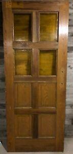 Antique Solid Oak Wood Exterior Door (Church/School House) /w Yellow Glass 34x84