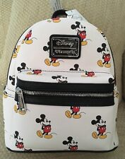 NWT DISNEY LOUNGEFLY MICKEY MOUSE PURSE MINI BACKPACK SYLE WHITE BLACK RED RARE