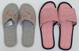 Ex M&S Ladies Women's Open Toe Slippers Slip On Flat Indoor Slider Comfy Mule