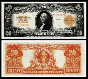 1922 $20  GOLD CERTIFICATE NOTE~ ~VERY FINE