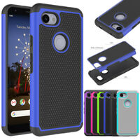 For Google Pixel 3a/3a XL Rugged Hybrid Hard Armor Case Shockproof Rubber Cover
