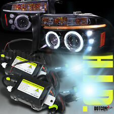 Glossy Black Dakota Durango Smoke Lens 2X Halo H3 6000K HID Projector Headlights