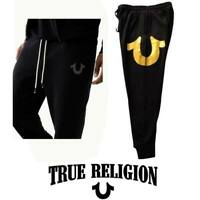 "Men's True Religion Classic Joggers ""1888"" Gold Pants Black Sweatpants S M 3XL"