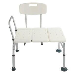 Shower Bath Seat 10 Height Adjustable Bathroom Tub Transfer Bench Chair W/ Back