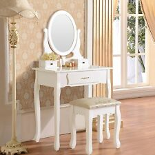 Vanity Makeup Dressing Table Set w/Stool 3 Drawer&Mirror Jewelry Desk White Wood