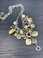 """Vintage Necklace Pale Yellow Blister Pearl  Shiny Dangle  Charm Statement  18"""""""