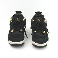 Nike Air Jordan 4 Retro Royalty Black Metallic Gold White 408452-032 Sz 6.5 Y