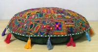 "32"" Indian Handmade Floor Cushion Round Cover Patchwork Pillow Meditation Decor"