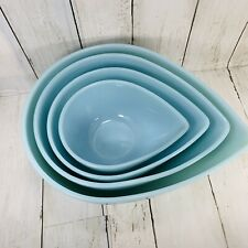 Fire King Blue Teardrop HTF Nesting Mixing Bowls Swedish