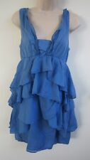 ZARA Women's Sleeveless Blue Ruffles Dress ~ Size M / Medium ~ Worn only Twice!