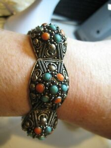 Vintage Antique Chinese Export Silver Filigree Turquoise Coral  Bracelet