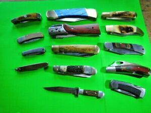 14 LOT ASSORTED  USED, NEW FOLDING KNIVES-USA Super Knife-KA-BAR